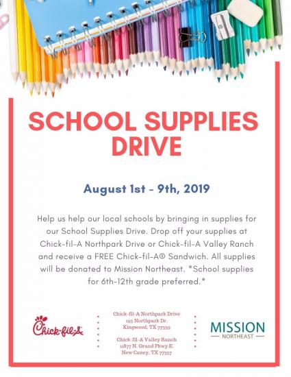 Mission Northeast School Supply Drive